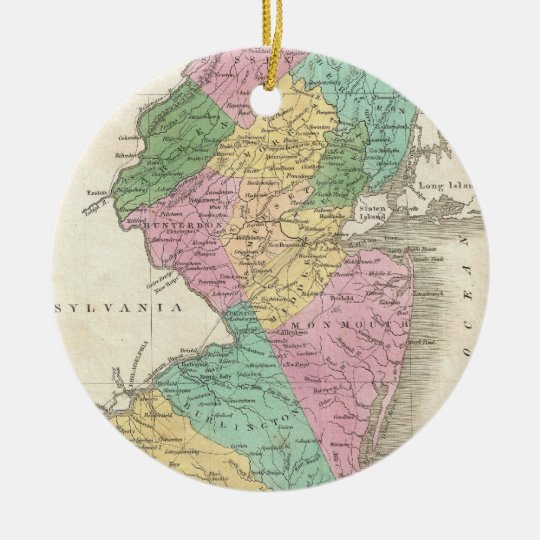 Vintage Map of New Jersey (1827) Ceramic Ornament