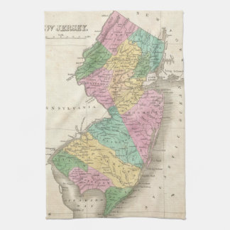 Vintage Map of New Jersey (1827) Hand Towel