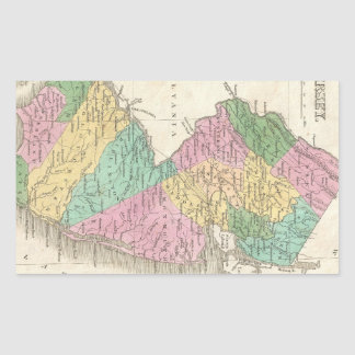 Vintage Map of New Jersey (1827) Rectangular Sticker
