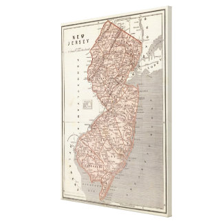 Vintage Map of New Jersey (1845) Canvas Print