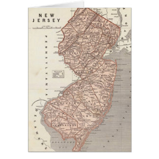 Vintage Map of New Jersey (1845) Card