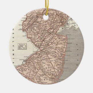 Vintage Map of New Jersey (1845) Ceramic Ornament