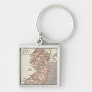 Vintage Map of New Jersey (1845) Key Chain