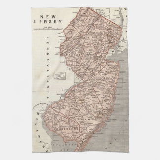 Vintage Map of New Jersey 1845 Hand Towels