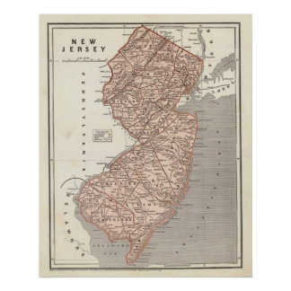 Vintage Map of New Jersey (1845) Poster