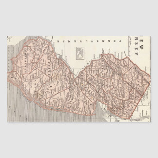 Vintage Map of New Jersey (1845) Rectangular Sticker