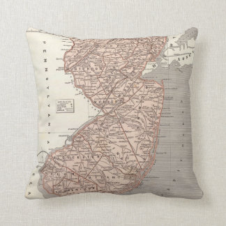 Vintage Map of New Jersey (1845) Throw Pillow