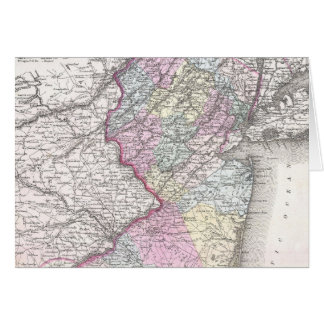 Vintage Map of New Jersey 1855 Card