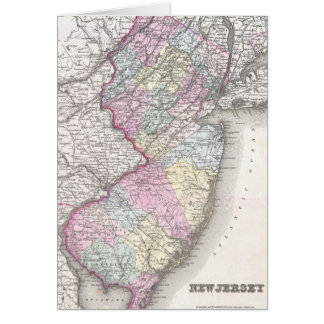 Vintage Map of New Jersey 1855 Greeting Card