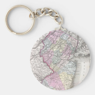 Vintage Map of New Jersey (1855) Keychain