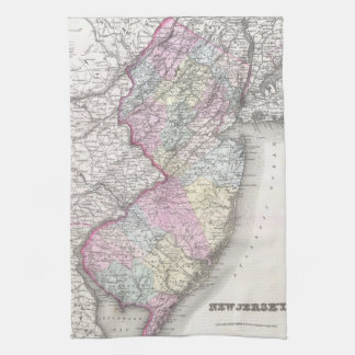 Vintage Map of New Jersey 1855 Hand Towels