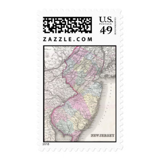 Vintage Map of New Jersey (1855) Postage Stamps