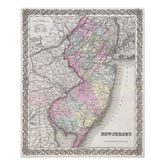 Vintage Map of New Jersey (1855) Poster