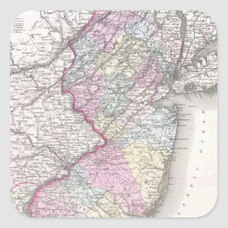 Vintage Map of New Jersey (1855) Square Sticker