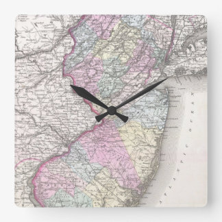 Vintage Map of New Jersey (1855) Square Wall Clock