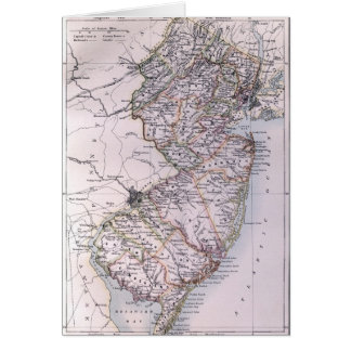 Vintage Map of New Jersey 1884 Cards