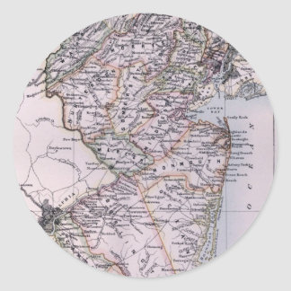 Vintage Map of New Jersey (1884) Classic Round Sticker