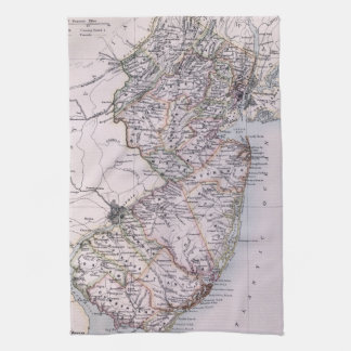 Vintage Map of New Jersey 1884 Hand Towels