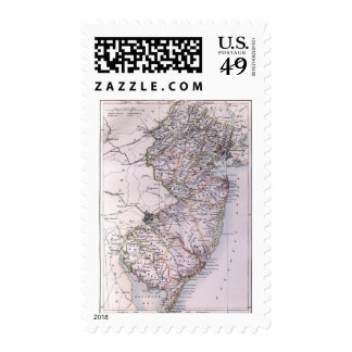 Vintage Map of New Jersey 1884 Stamp