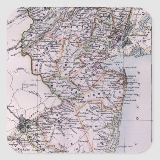 Vintage Map of New Jersey (1884) Square Sticker
