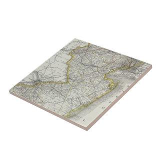 Vintage Map of New Jersey (1889) Ceramic Tile