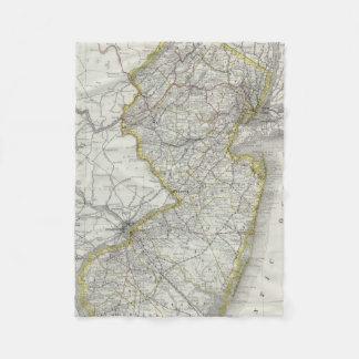 Vintage Map of New Jersey (1889) Fleece Blanket