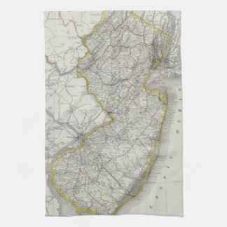 Vintage Map of New Jersey 1889 Kitchen Towels