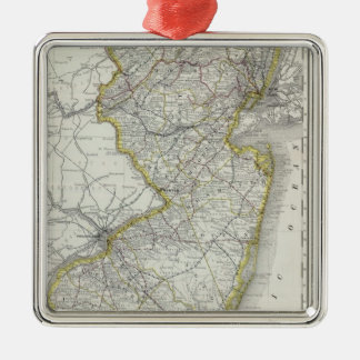 Vintage Map of New Jersey (1889) Metal Ornament