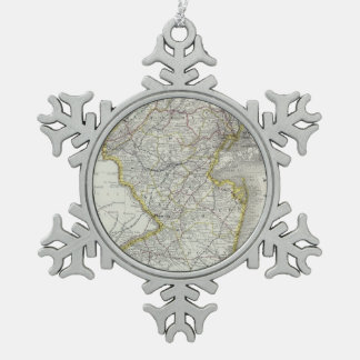 Vintage Map of New Jersey (1889) Snowflake Pewter Christmas Ornament