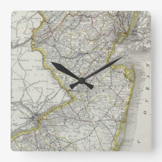 Vintage Map of New Jersey (1889) Square Wall Clock