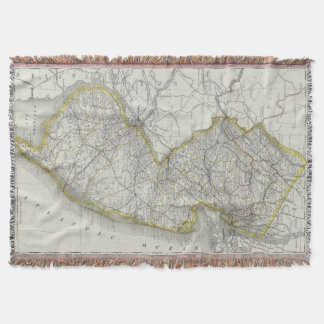 Vintage Map of New Jersey (1889) Throw