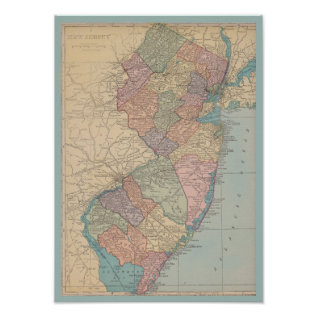 Vintage Map Of New Jersey Poster at Zazzle