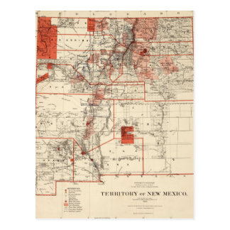 Vintage Map of New Mexico 1882 Post Card