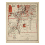 Vintage Map of New Mexico (1882) Poster