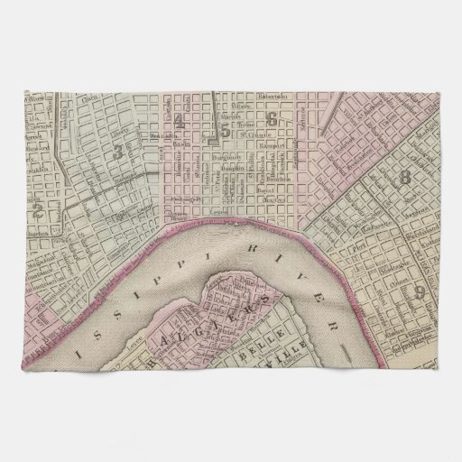 Vintage Map of New Orleans (1880) Towels