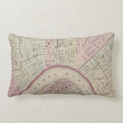 Vintage Map of New Orleans (1880) Throw Pillows