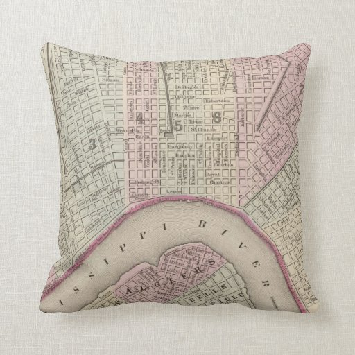 Vintage Map of New Orleans (1880) Pillow