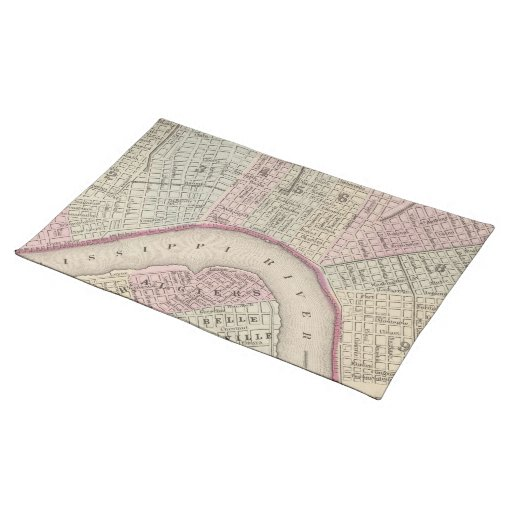Vintage Map of New Orleans (1880) Place Mats