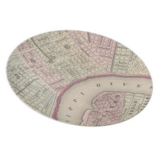 Vintage Map of New Orleans (1880) Dinner Plate