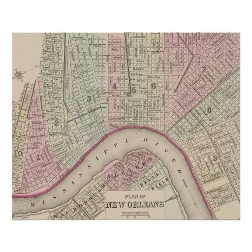 Vintage Map of New Orleans (1880) Posters