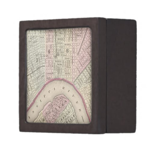 Vintage Map of New Orleans (1880) Premium Keepsake Boxes