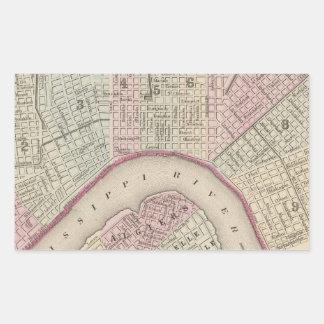 Vintage Map of New Orleans (1880) Rectangular Sticker