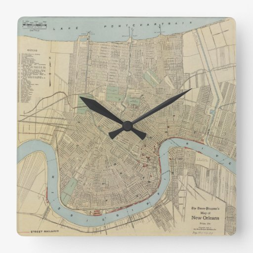 Vintage Map of New Orleans (1919) Square Wall Clock