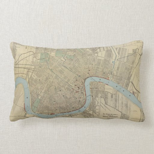 Vintage Map of New Orleans (1919) Throw Pillow