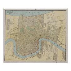 Vintage Map of New Orleans (1919) Poster