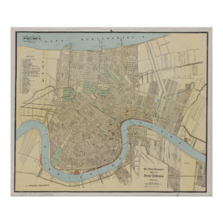 Vintage Map Of New Orleans (1919) Poster at Zazzle