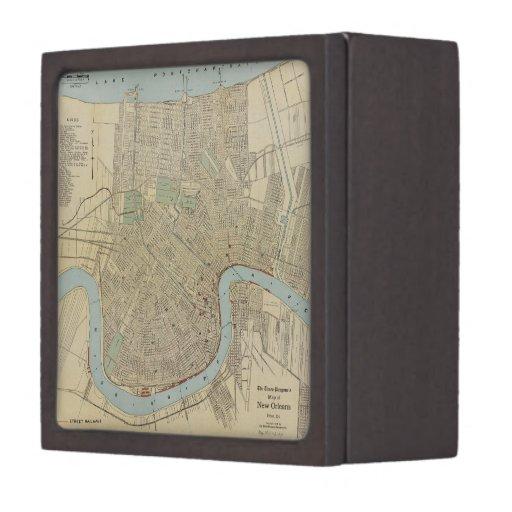 Vintage Map of New Orleans (1919) Premium Keepsake Boxes