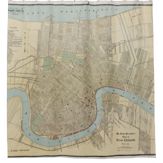 Vintage Map of New Orleans (1919) Shower Curtain