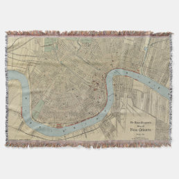 Vintage Map of New Orleans (1919) Throw Blanket