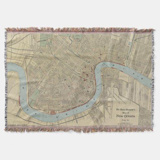 Vintage Map of New Orleans (1919) Throw Blanket